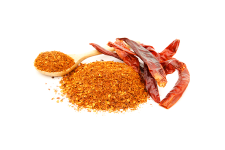 cayenne pepper: cayenne pepper and dried chili on white background