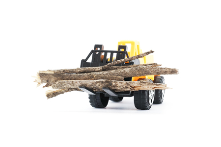 playthings: wood on kids toy forklift carried, white background