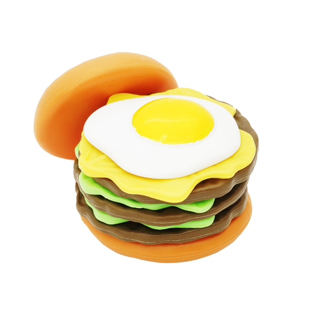 playthings: hamburger with egg on top, plastic toy for kids on white background Stock Photo