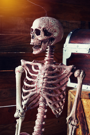 fake smile: axial skeleton and blood with smiling , halloween decoration in dark tone Stock Photo