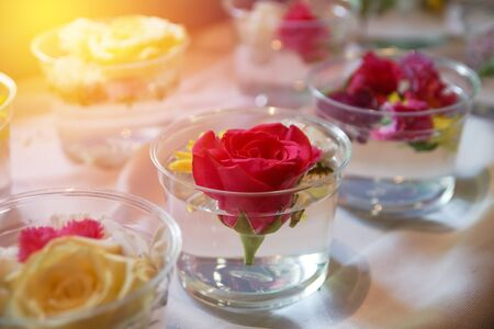 red rose bokeh: red rose in glass , soft focus Stock Photo