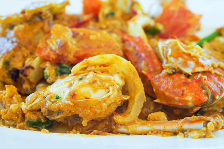 curry powder: soft focus of homemade stir-fried crab in yellow curry powder Stock Photo