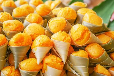 cone cake cone: palm cake in cone, Thai dessert Stock Photo