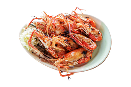 isoleted: grilled shrimps in bowl isoleted on white
