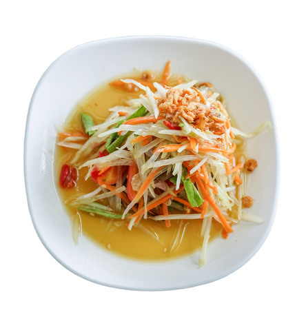 long bean: papaya salad with dired shrimp isolated on white background ,top view, Thai cuisine Stock Photo