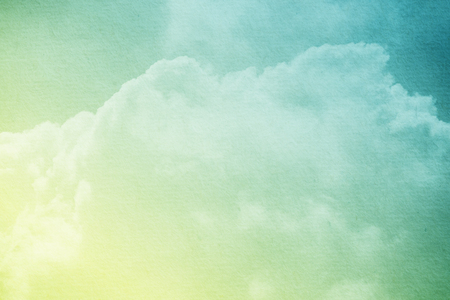 Fantasy cloudy sky with pastel gradient color and grunge paper texture, nature abstract background Stock Photo