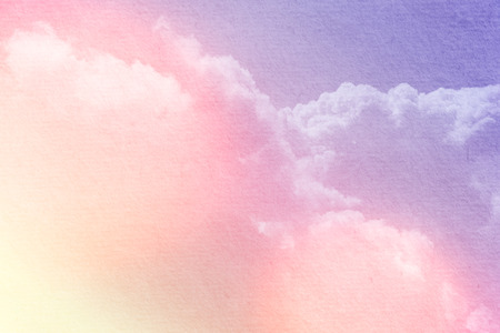 Fantasy cloudy sky with pastel gradient color  and grunge paper, nature abstract background Stock Photo