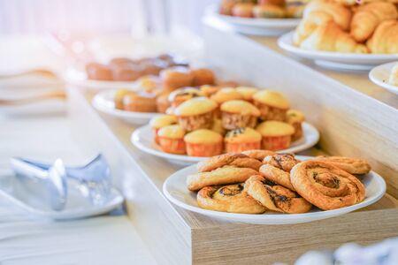 Bakery ready for breakfast buffet in restaurant, in soft focus 版權商用圖片