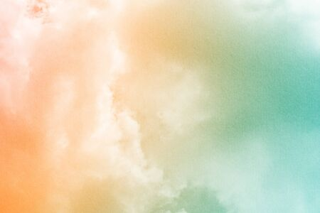 Fantastic cloudy sky with pastel gradient color with grunge texture, nature abstract background