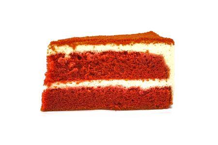 sliced red velvet cake isolated on white background Stockfoto