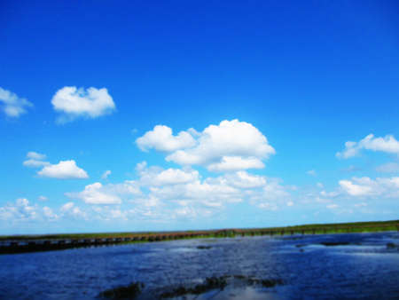 lakeview: Lakeview of Southern of Thailand with blue sky and cloud                                Stock Photo