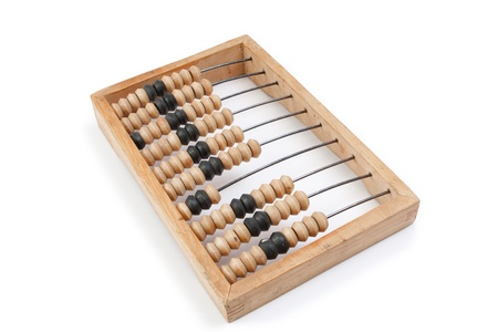 calculated: Old wooden abacus with a calculated sum