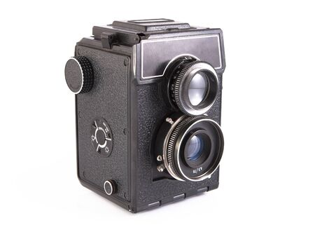 Old camera with two lenses photo