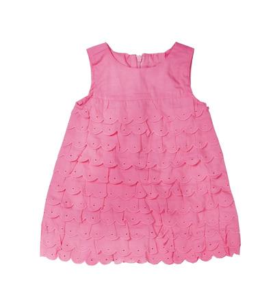 petite fille avec robe: Robe rose b�b� tricot�e sur un fond blanc