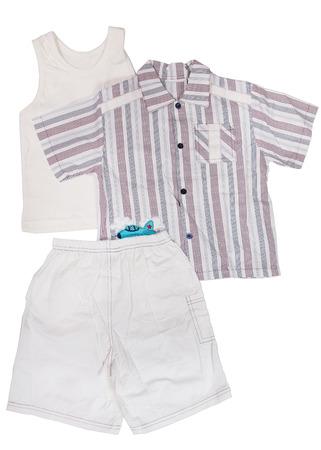 children's wear: Children wear - T-shirt and shirt isolated over white background