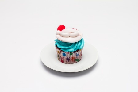 butter icing: Christmas cupcake with butter cream icing.