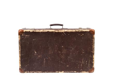 maleta: Maleta vieja aislada en un fondo blanco. Estilo vintage. Foto de archivo