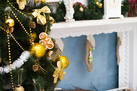 hearthside: Interior with Christmas decorations.  Stock Photo