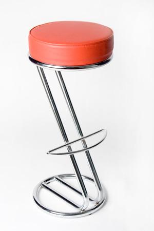 stool: Bar Stool, Yellow stool on a white background. chrome Stock Photo