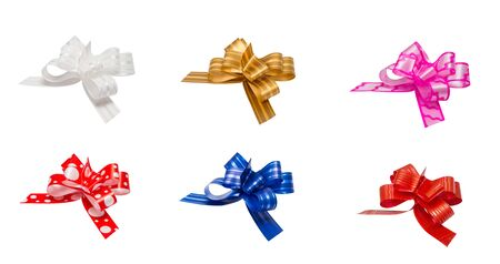 pink satin: Shiny satin ribbon on white background. ribbon bows - red, pink, blue, gold - all colors collection