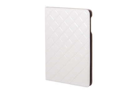 sewn up: White closed  tablet case on white background. Modern communication device. Stock Photo