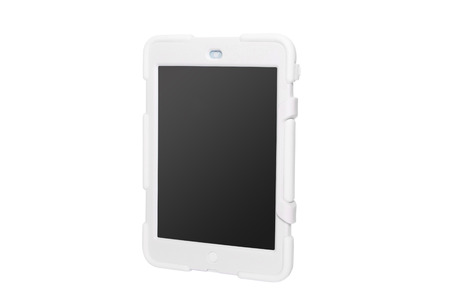 Tablet computer in a military case. white. Modern communication device. Stock Photo