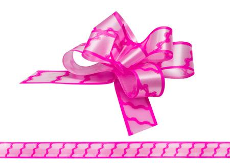 pink satin: Shiny pink satin ribbon on white background