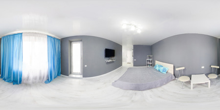 panorama: Interior of bedroom. Modern minimalism style bedroom interior in monochrome tones. Spherical Panorama 360 degree