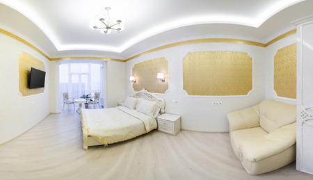 luxuriously: Luxurious bed with cushion in royal bedroom interior. Panorama hotel room