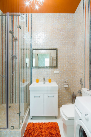 master bath: Luxurious bathroom shower and exquisite tiles and furniture