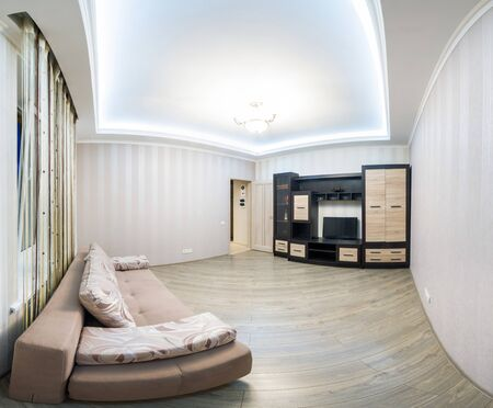 lighting: Spacious room with furniture, large closet and TV. Modern Style. Large panorama room made out of multiple frames