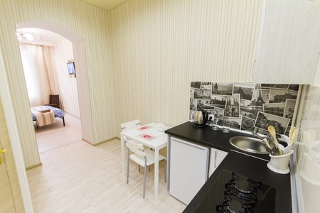 kitchenette: Small kitchen in a studio apartment. Top view
