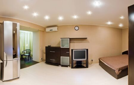bedsheets: Comfortable apartment with a double bed, modern design. Large panorama room.