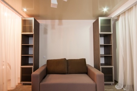 homely: Room with soothing colors, homely atmosphere. studio apartment Stock Photo