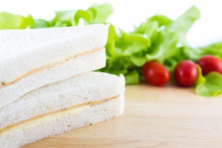 sandwish: Fresh sandwish and organic vegetable on wooden table