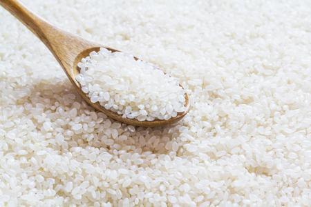 arroz chino: Arroz blanco en la cuchara de madera, arroz japon�s, arroz de grano corto