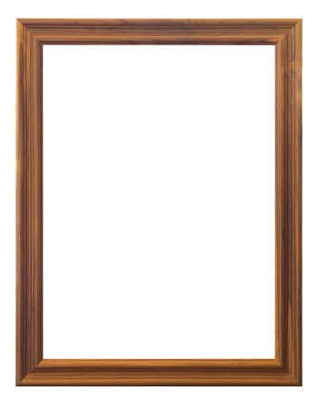 vintage retro frame: Isolate wooden frame on white background, vintage and retro style