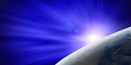 ray of light: The Earth and ray of blue light, space view Stock Photo