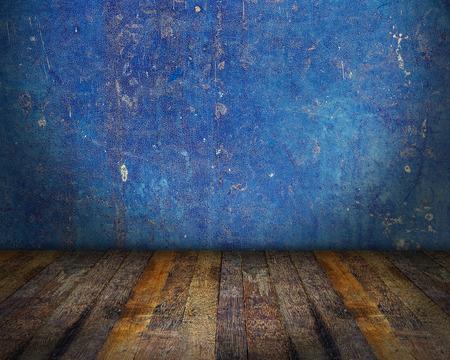 grunge interior: Blue grunge interior room, room background