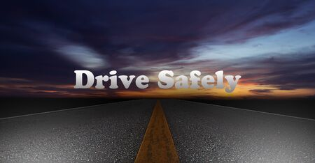 safely: Night scene road on sunset background, drive safely concept