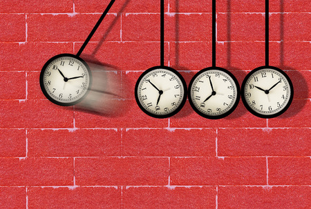Time concept, clock moving on red brick wall Stok Fotoğraf