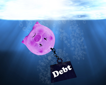 Debt concept, financial crisis, piggy bank drowning