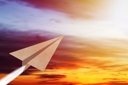 Business vision concept, paper plane fly on the sky, copy space