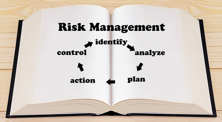 intervene: Risk management concept, risk cycle on open book