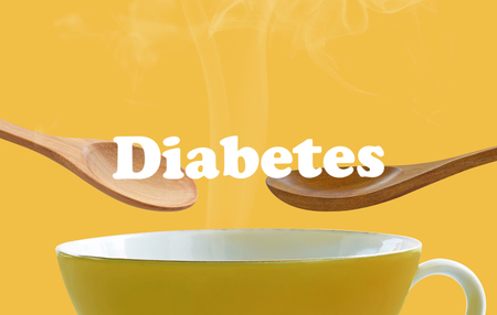 Diabetes concept, cup of coffee and wood spoon Stock Photo