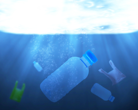 Pollution problem in the water concept, plastic bag and bottle rubbish in the environment Stok Fotoğraf