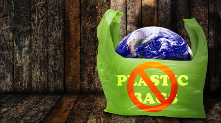 Pollution problem concept, say no to plastic bag, Elements of this Image Furnished by NASA