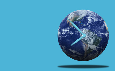 Time management concept, business planning, The Earth on blue background, Stok Fotoğraf
