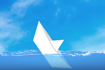 sinking: Business solution, problem concept, white paper boat sinking