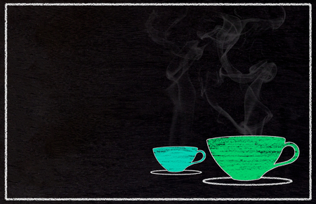 Coffee concept background, drawing cup on blackboard, chalkboard Reklamní fotografie
